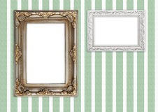 Picture frames on striped wall Royalty Free Stock Photos