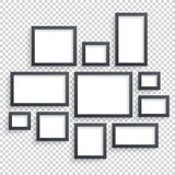 Picture frames vector. Photo art gallery. Dark Blank Collection on Wall Royalty Free Stock Image