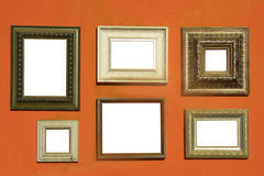 Picture frames on wall Stock Images