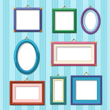 Picture frames on wall. Flat photo frame set Stock Photo