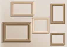 Picture frames on wall Stock Photos