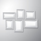 Picture Frames White Variety. Variety sizes of realistic white picture frames with empty space  on white background for presentation and showcasing purposes Stock Photos