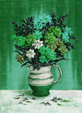 Picture, freesia flowers in a jug. Picture, painting oil paints on a canvas, a bouquet of freesia flowers in a jug Royalty Free Stock Photos