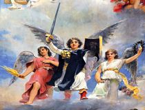 Archangel Michael. Picture fresco of Archangel Michael royalty free stock photography