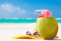 Picture of fresh coconut cocktail and blue Royalty Free Stock Photos