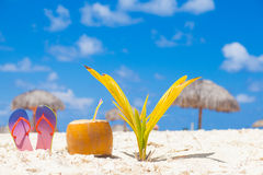Picture of fresh coconut cocktail and red flip flops on tropical beach near small palm tree Stock Photos