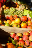Picture of fresh fruits and vegitables at market in boxes Stock Photos