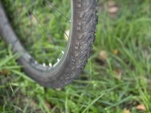 Picture of front bicycle wheel closeup with worn tire shallow dof stock photography