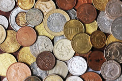 Picture Full Of Metal Coins From Different Countrie Royalty Free Stock Photo