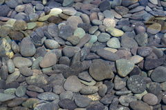 Picture full of stone pebbles under water lake bed background Stock Photography