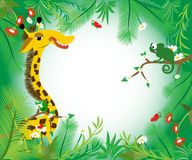 Picture with funny giraffe and small chameleon. Summer time. royalty free illustration