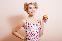 Picture of funny happy smiling sexi pinup lady Stock Images