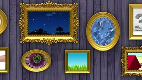 Picture gallery, 3d animation on purple wood background. Picture gallery 3d animation. Gold picture frames on purple wood background. Various videos is playing royalty free illustration
