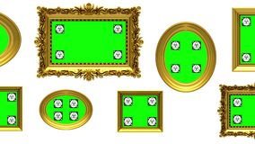 Picture gallery, 3d animation on white background, motion tracking markers, green screen. Picture gallery 3d animation. Gold picture frames on white background vector illustration