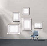 Picture gallery exhibition. Space empty frames collection stock illustration