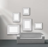 Picture gallery exhibition. Space empty frames collection royalty free illustration