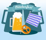 Picture for the German holiday Oktoberfest with a mug of foam beer stock illustration