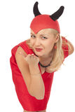 Picture of a girl in a devil costume Royalty Free Stock Photo