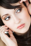 Picture of  girl face over white Royalty Free Stock Photography