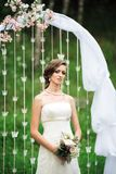 Picture of a glad bride in white royalty free stock photo