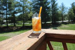 Nothing like a refreshing glass of sweet tea on a hot day stock photo