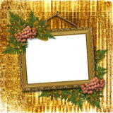Picture gold frame with bunch Royalty Free Stock Images