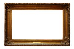 Picture gold wooden frame for design on white background stock photography