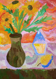 Picture gouache. Vase with flowers Royalty Free Stock Photography