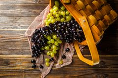 Picture of grapes green and black in wooden basket on table Royalty Free Stock Photos