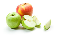 Picture of green apples and big red apple Stock Image