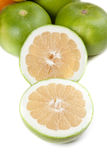 Picture of green grapefruits isolated on white Stock Photo