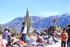 Group of sellers in the Colca canyon in the Andes. Arequipa, Perú royalty free stock image