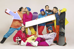 Picture of group of snowboarders Stock Photos