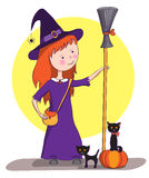 Picture for Halloween. Little witch Stock Photos
