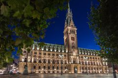 Town hall of Hamburg at dusk during blue hour Stock Photos