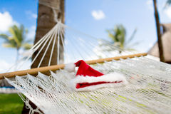 Picture of hammock with santa helper hat Stock Photography