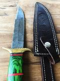 Hand Made Damascus hunting knife and sheath Royalty Free Stock Photography