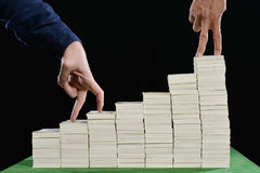 Picture of hands and fingers that represents a business competition. royalty free stock images