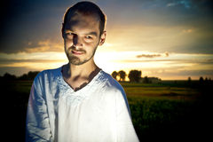 Picture of man on sunset Royalty Free Stock Images