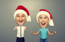 Picture of happy bighead couple Royalty Free Stock Photography