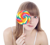 Picture of happy blonde with color lollipop Stock Photo