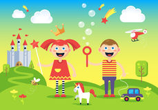 The picture of happy, carefree boy and girl. Standing at the magic hills near the fantastic castle. Fully editable vector illystration. Perfect for children Stock Images