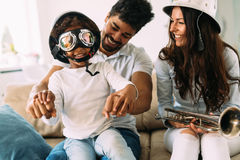Picture of happy family having fun time together Royalty Free Stock Image
