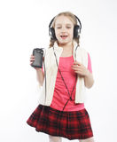 Picture of happy girl in big headphones Royalty Free Stock Images