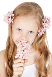 Picture of happy girl with flowers in hair Stock Photography