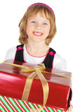 Picture of happy little girl with gift Stock Photo