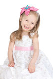 Picture of happy little girl over white Royalty Free Stock Photo