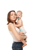 Picture of happy mother and adorable baby isolated Royalty Free Stock Photos