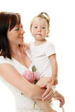 Picture of happy mother with baby stock images