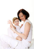 Picture of happy mother with baby Royalty Free Stock Photos